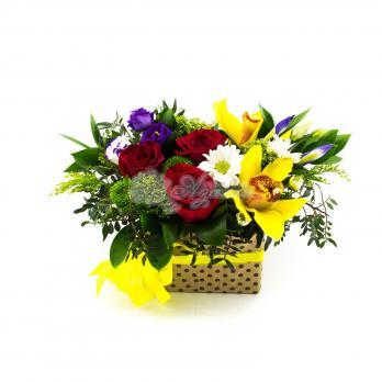 Композиция с орхидеями и цветами микс