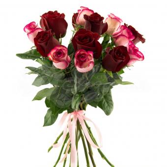 Букет из 15 Эквадорских роз красно-розовых