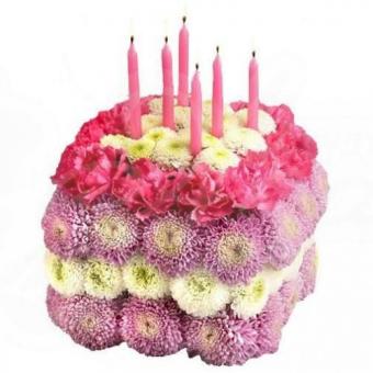 Мини тортик из живых цветов