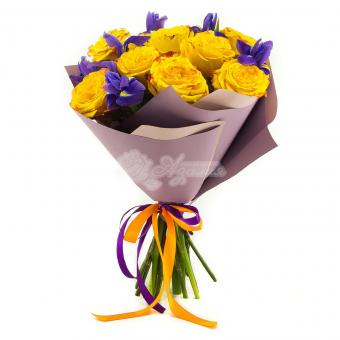 Букет из 11 желтых роз и 7 ирисов